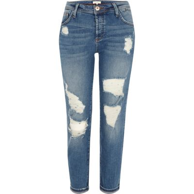 mid blue ripped boyfriend jeans jeans sale women. Black Bedroom Furniture Sets. Home Design Ideas