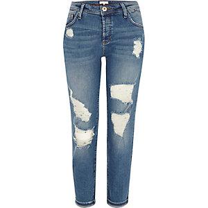 Middenblauwe ripped boyfriend jeans