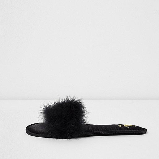 Black  fluffy slider slippers