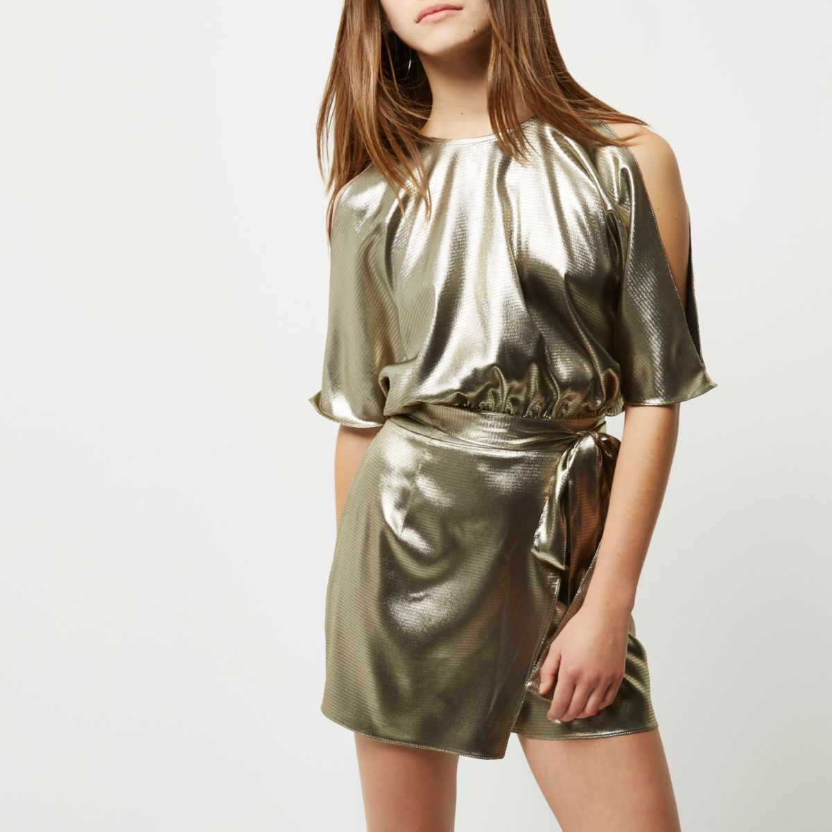 Petite metallic khaki cold shoulder romper