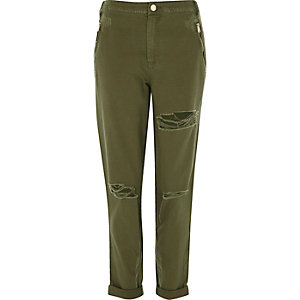 Khaki green distressed pants
