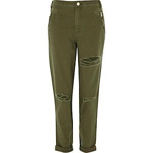 Pantalon vert kaki aspect usé