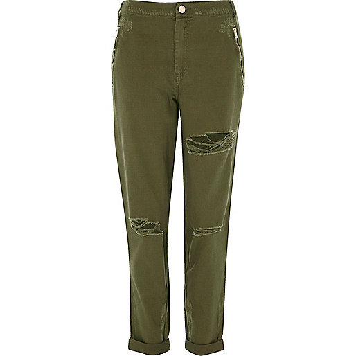 Khaki green distressed trousers