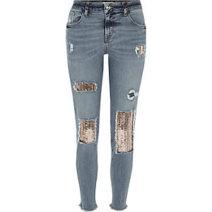 Silver sequin Alannah relaxed skinny jeans