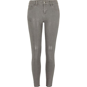 Grey silver coated super skinny Amelie jeans