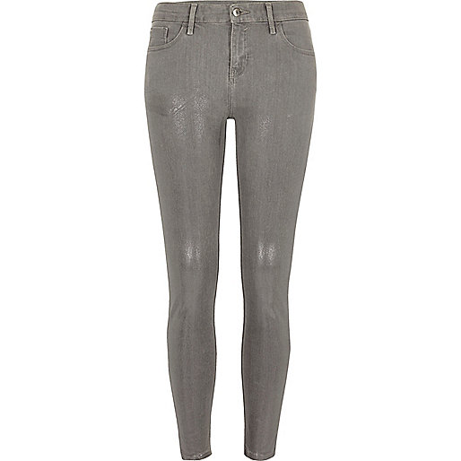 Grey silver coated super skinny Amelie jeans
