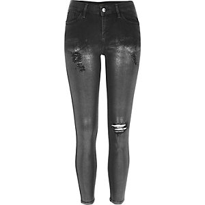 Black silver coated super skinny Amelie jeans