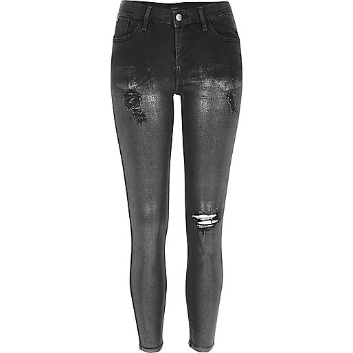 Black silver coated super skinny Amelie jeans