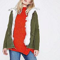 Khaki green faux fur front jacket