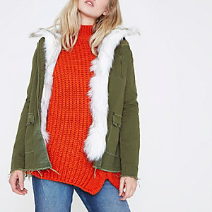 Khaki green faux fur front jacket