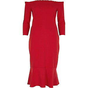 Red frill hem bardot bodycon dress
