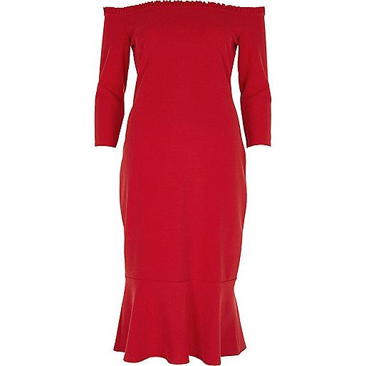 Red frill hem bardot bodycon dress