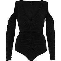 Black ruched front cold shoulder bodysuit