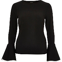 Black long sleeve bell sleeve top
