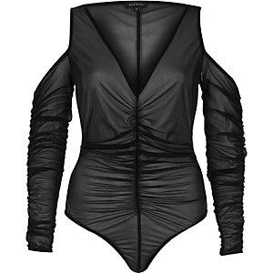 Black ruched cold shoulder bodysuit