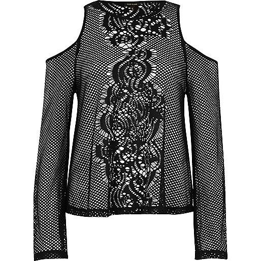 Black mesh flare sleeve cold shoulder top