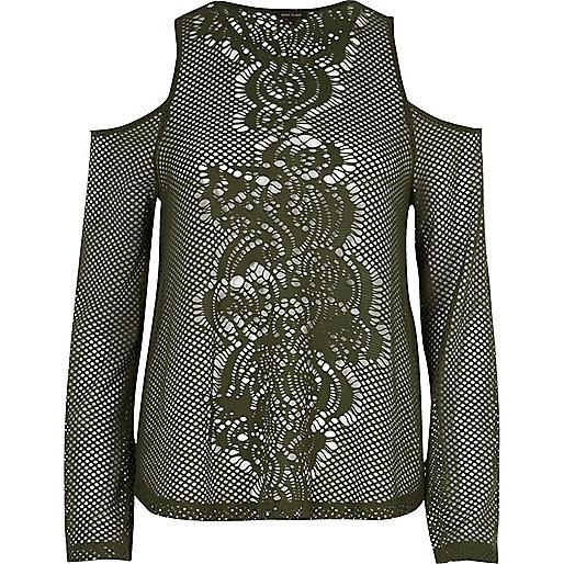 Khaki mesh flare sleeve cold shoulder top