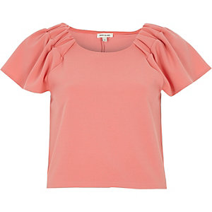 Pink ruched sleeve T-shirt