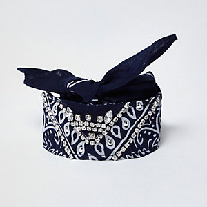 Navy paisley print jewelled bandana