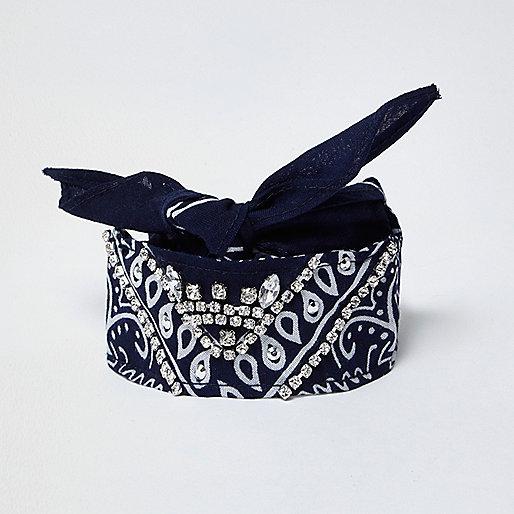 Navy paisley print jewelled bandana