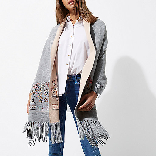 Grey floral embroidered fringe blanket cape