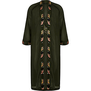 Khaki green oriental embroidered bird kimono