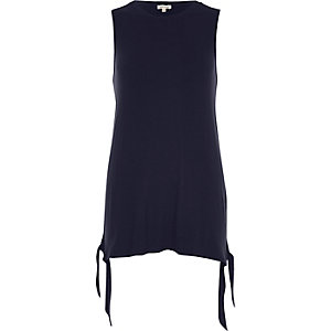 Navy tie side hem tank top