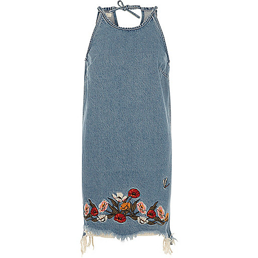 Blue floral embroidered raw cut denim dress