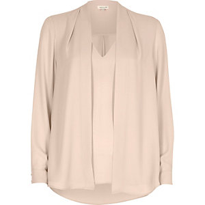 Nude pink 2 in 1 blouse