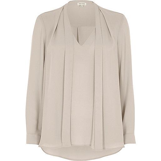 Light grey 2 in 1 blouse