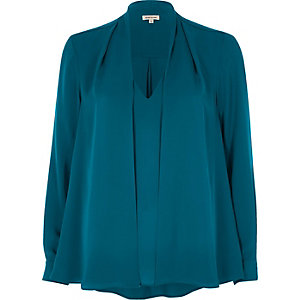 Blauwgroene 2-in-1-blouse