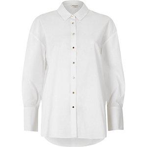 Chemise blanche oversize à manches nouées