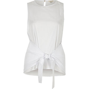 Whitetie knot tank top