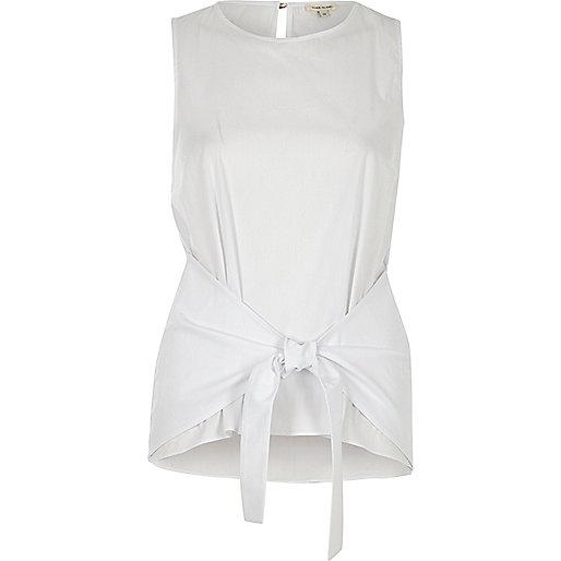 Whitetie knot vest top
