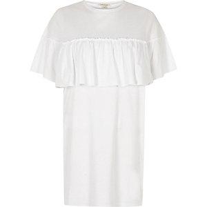 White frill front jumbo T-shirt