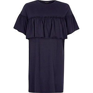 Navy frill front oversized T-shirt