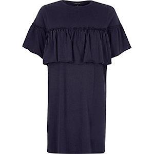Navy frill front jumbo T-shirt