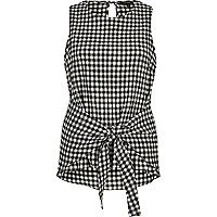 Black gingham print tie knot tank top