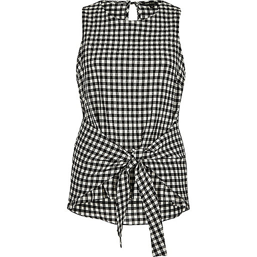Black gingham print tie knot vest top