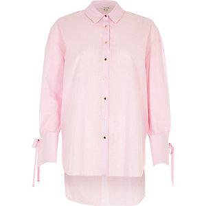 Pink stripe tie cuff shirt