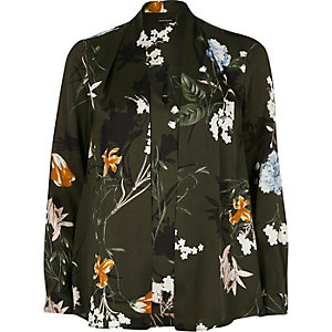 Green floral print 2 in 1 blouse