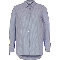Blue stripe print shirt
