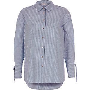 Blauw Overhemd met strepenprint