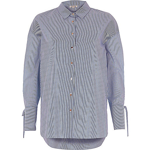 Blue stripe print shirt