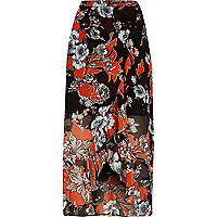 Black floral print ruffle hem wrap maxi skirt