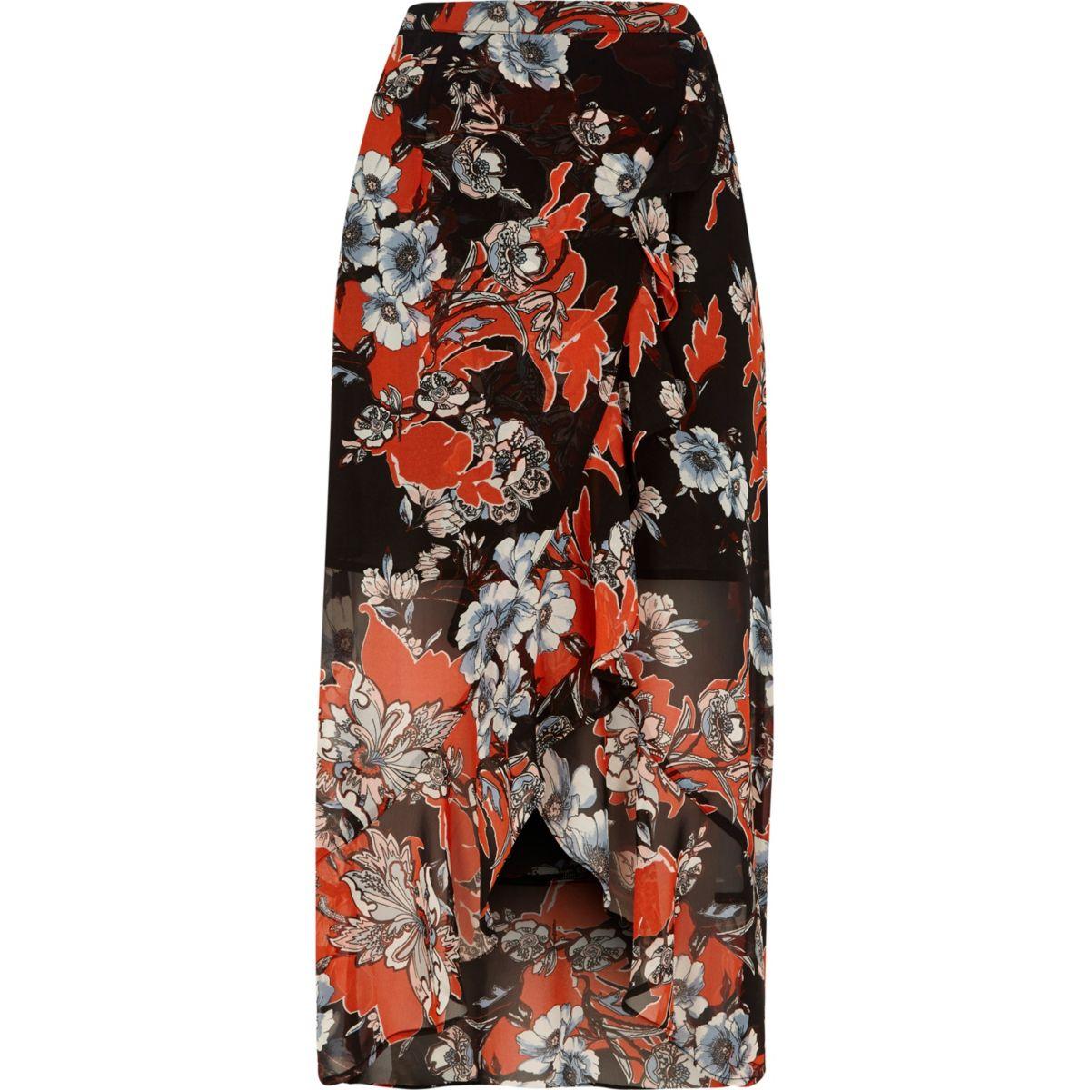 Jupe longue à fleurs noire style portefeuille avec ourlet à volants