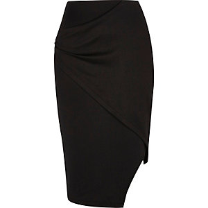 Black asymmetric wrap front skirt