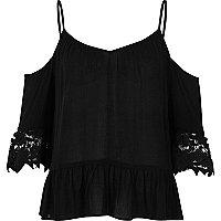Black lace crinkle cold shoulder top