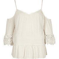 Cream cold shoulder crochet top
