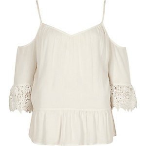 Cream cold shoulder crochet top